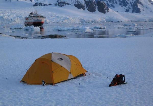 Camp on the Antarctic peninsula as you sail on the MS Fram