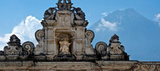 Antigua architecture with volcano view