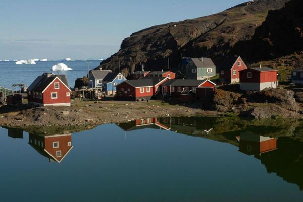 Remote village among icebergs