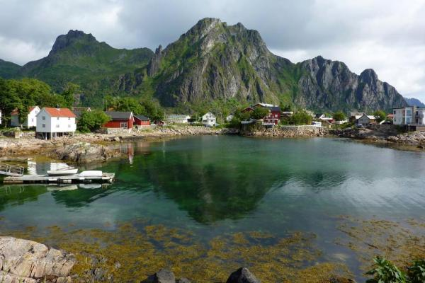 Small, picturesque villages line the shores of Norway