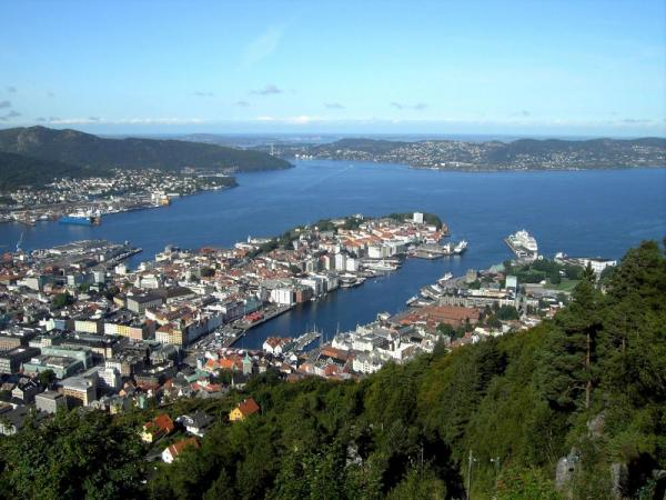 An aerial view of Bergen