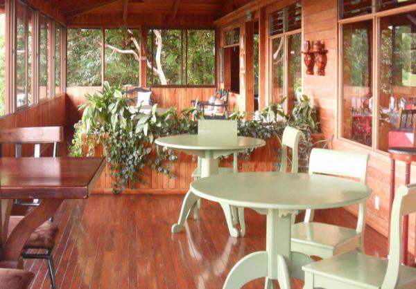 The dining room at Cloud Forest Lodge features large windows