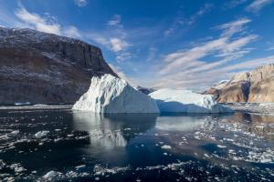 Icebergs litter the seas throughout the Arctic