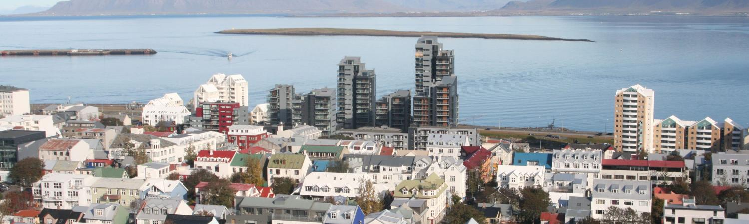 Reykjavic sits along the sea in the Arctic