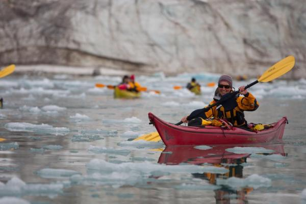 Try to avoid the ice while you kayak in the Arctic
