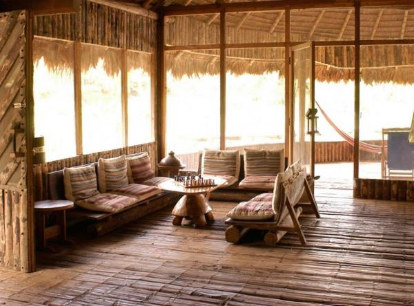 A comfortable seating area at Kapawi Lodge