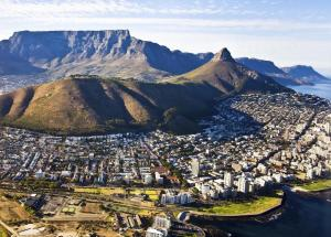 An aerial view of Table Mountain, Cape Town