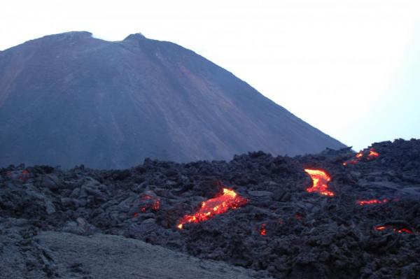 Glowing lave of the volcano