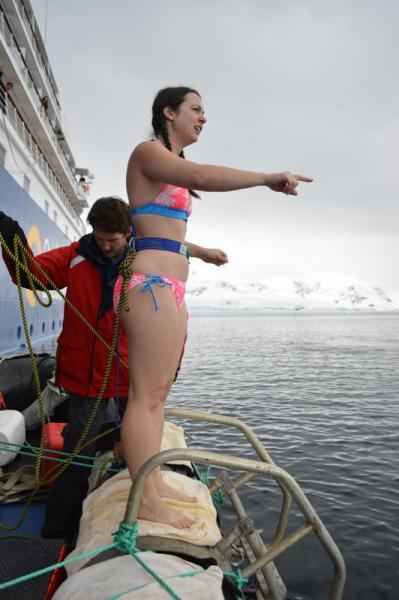 Polar Plunge: Here is when I realized that I wasn't just jumping in...I had to swim to the other zodiac!