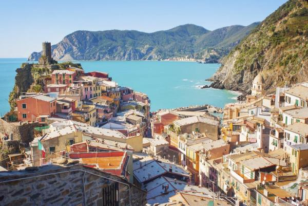 Colorful villages line the shores of the Italian riviera