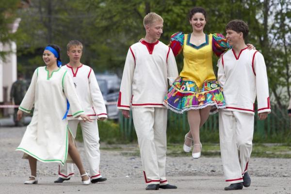 Dancers practice before a performance