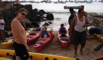 About to kayak on San Cristobal