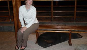 Me and the sea lion bum under the park bench