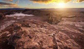 A magnificent sunset over Atacama's Valley of the Moon