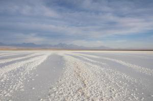 The salt flats of the Atacama Desert stretch as far as the eye can see