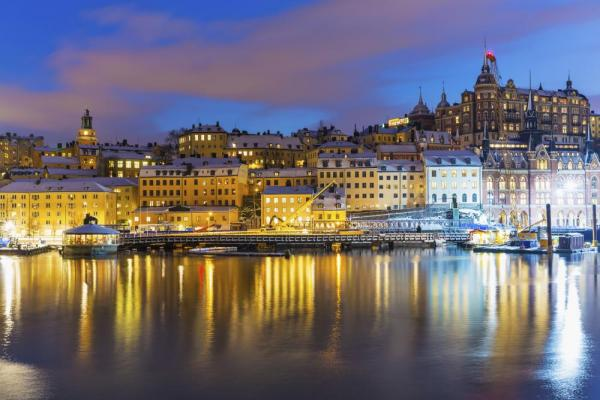 Night scenery of Stockholm, Sweden