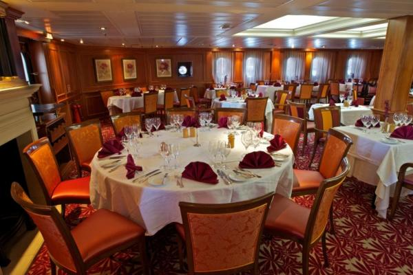 The tastefully designed dining room on the Caledonian Sky