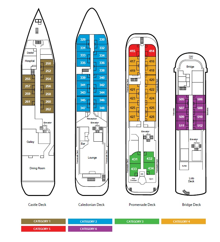 Deck plans of the Caledonian Sky