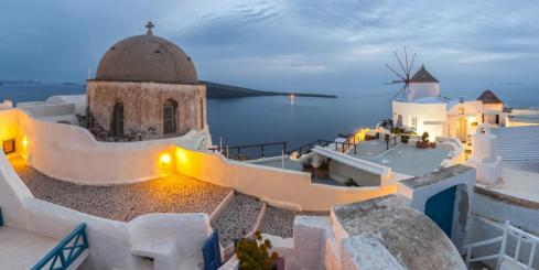 A romantic view from the cliffs of Santorini