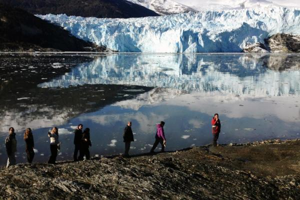 Take a walk along the edge of the fjord to get a better look at Brookes Glacier