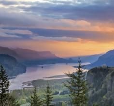 Sunrise over Crown Point at Columbia River