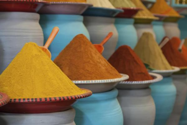 Colorful spices at the Marrakech market