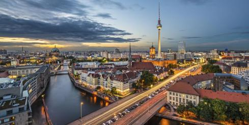 Berlin cityscape in the evening