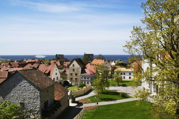 Aerial view of the town of Visby