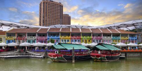 Houses by the river in Singapore