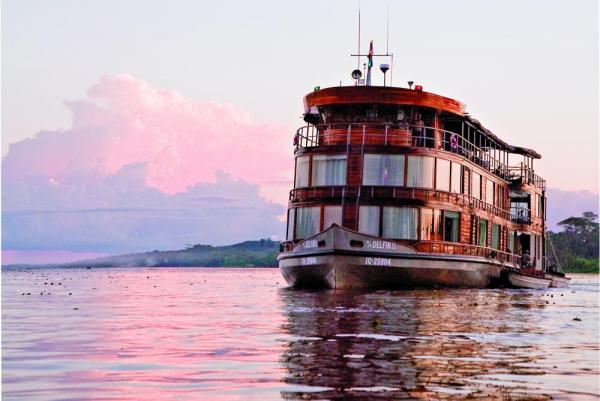 The Delfin II is a stately riverboat
