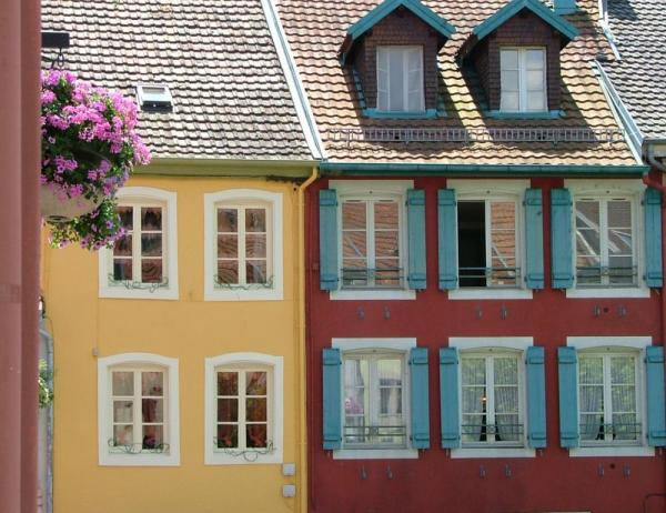 Colorful buildings line the streets of France