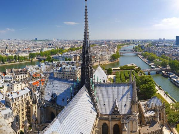 The views of Paris from Notre Dame Cathedral