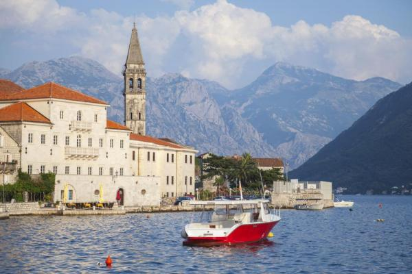 Landscape of old Perast, Kotor bay