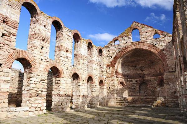 Ruins of Byzantine church in Nesebar, Bulgaria