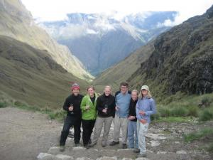 Drinking wine on the Inca Trail Luxury tour