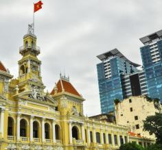 Contrast of old & modern of Ho Chi Minh city