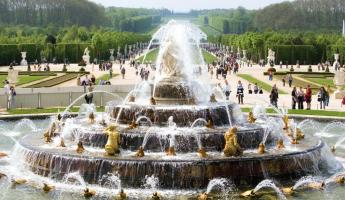 The famed fountain in the gardens of Versailles