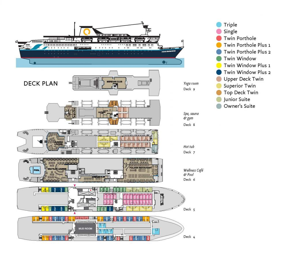 Deck plan of the Ocean Endeavour