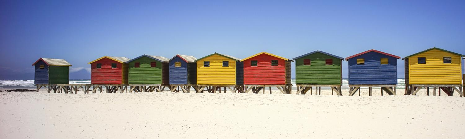 Famous colorful huts in Barbados