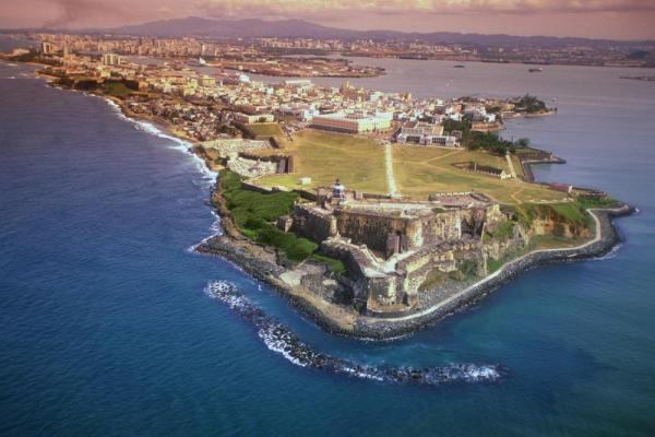 The looming fort walls of San Juan