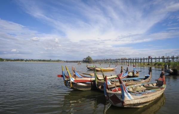 Wooden boats near Ubein Bridge in Mandalay