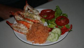 Shrimp dinner on Espiritu Santo Island