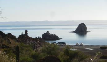 Our camp on Espirtu Santo, Baja