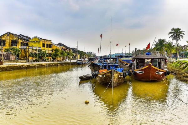 Boats docked at Hoi An