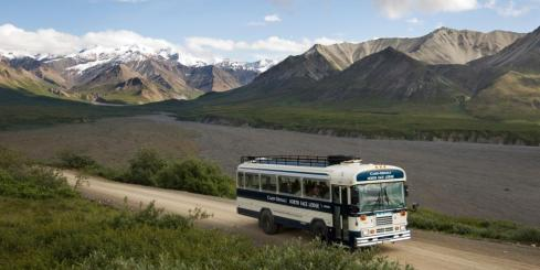 Bus ride into Denali National Park. Photo Courtesy of Camp Denali