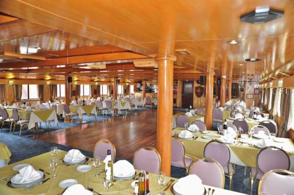 Enjoy your meals in the Skorpios II's dining room