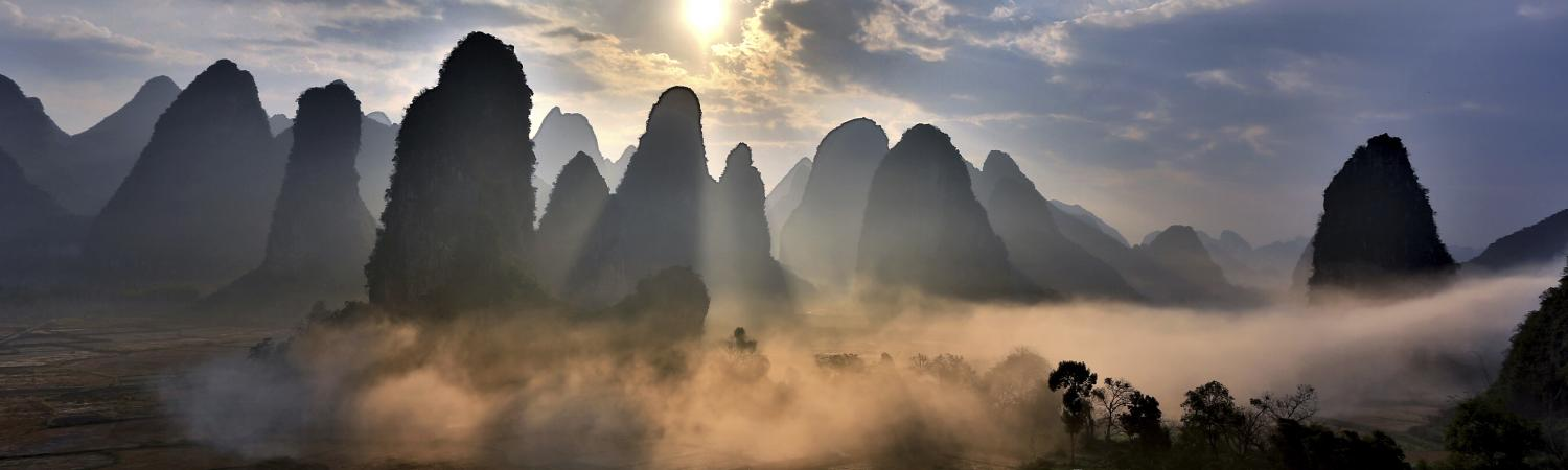 Sunrise over the mountains of Yangshuo