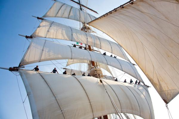 The large sails on the Sea Cloud