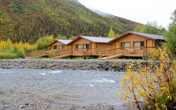 Cabins overlooking the creek in Denali
