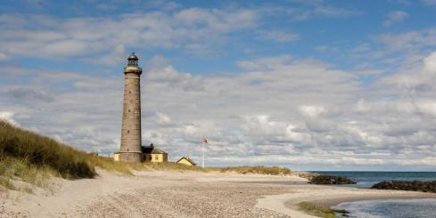 Skagen's beautiful beach and lighthouse
